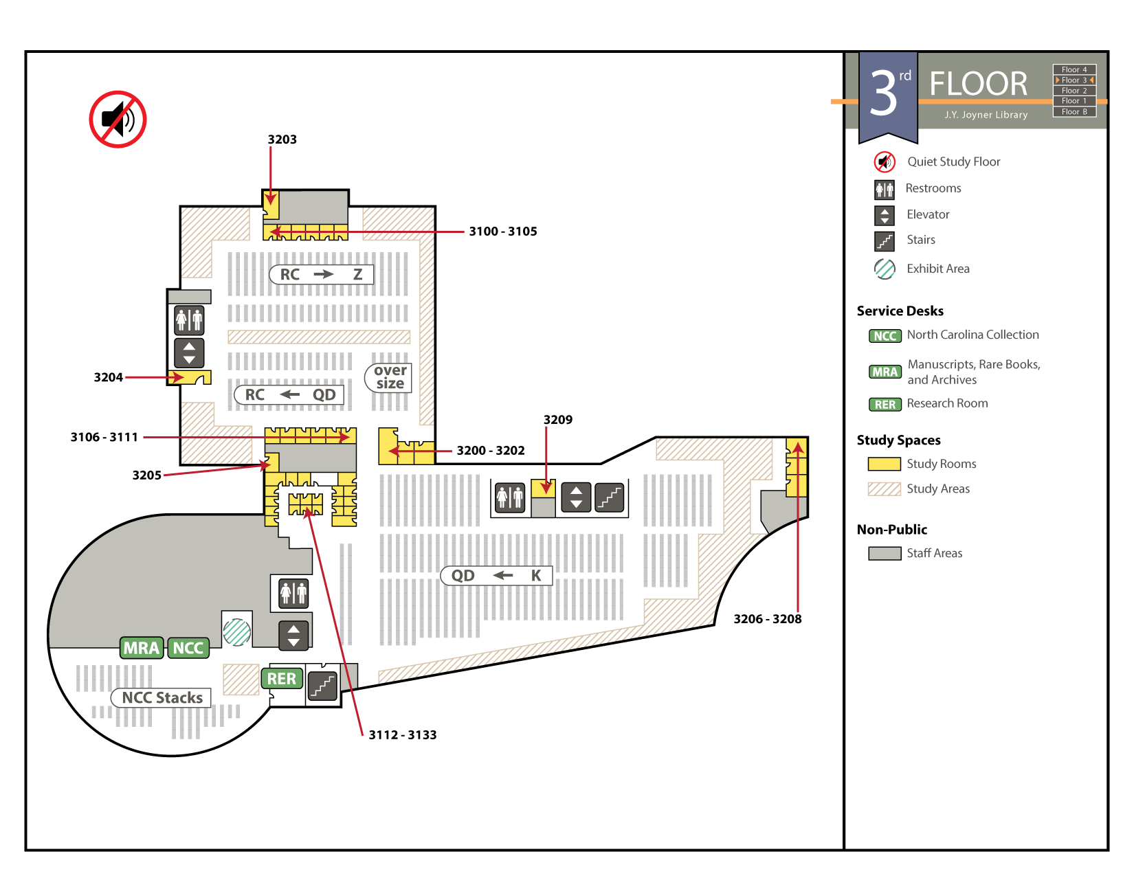 "Map of 3rd floor; Special Collections is in the ""drum"" (the round room in the southwest corner)"